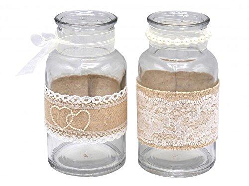 2-Vasen-Glser-Teelichtglser-Spitze-Romantisch-Hochzeit-Vintage-Tischdeko-Deko