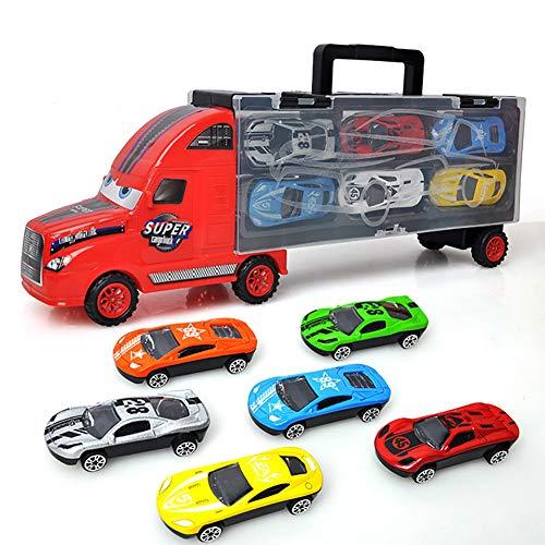 ehälter-LKW-Simulation Spielzeugauto-Legierungs-Jungen-Spielzeug-Kleine Tragbare Löschfahrzeug-Reihe (Gelegentliche Farbe) 1 Satz ()