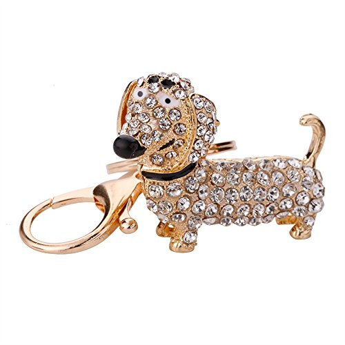 NawaZ Funny und Fashion Key Dekoration Strass Dackel Hund Anhänger Metall Schlüsselanhänger Geldbörse Handtasche Auto Charme Keychain Geschenk (weiß)