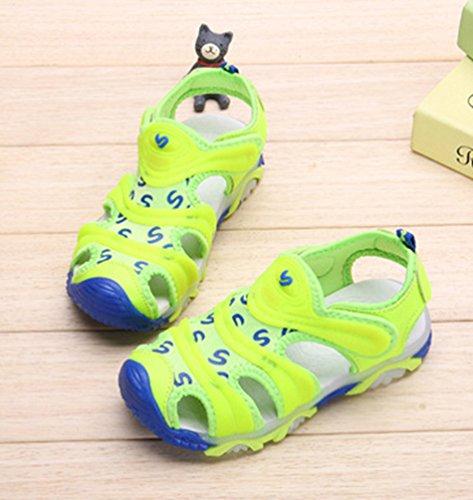 YiLianDa Ragazzi Bambini Pelle Sandali Comfort Walking Scarpe Estive Verde