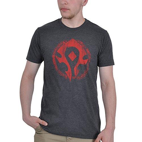 World of Warcraft - T-Shirt con logo dell'orda - Con etichetta Blizzard sulla nuca - Cotone - Antracite - S