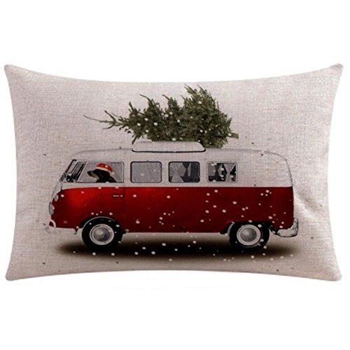 Housse de coussin de rectangle de Noël,Bellelove Housse de coussin Taie d'oreiller Canapé Taille Coussin Home Decor Rectangle Fait à la main Taie d'oreiller en lin 19.7 \