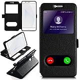 moex Huawei Honor 8 | Hülle mit Sicht-Fenster Schwarz Comfort Cover Stand-Funktion Schutzhülle Ultra-Slim Handyhülle für Honor 8 Case Flip Handy-Tasche