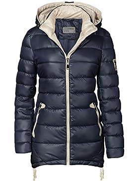 Chaqueta para mujer, abrigo acolchado largo, parka, chaqueta para entretiempo, con capucha, con cremallera