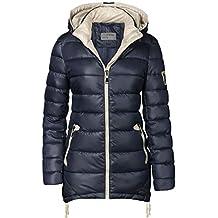 Cappotto lungo trapuntato da donna, con cappuccio e zip