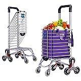 Cesta Carro de la Compra Escalera Escalada Mercado de los Agricultores Carro Escalera Escalada Multipropósito Supermercado plegable 8 Rueda , purple