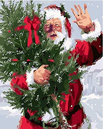 Zahlen Rahmenlose Weihnachten Winter Bild Nach Zahlen Kits Malen Bild DIY Malen Nach Zahlen Kinder Wohnzimmer Dekoration 40X50 cm ()