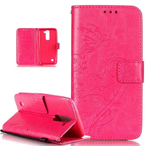 Kompatibel mit LG K10 Hülle,LG K10 Lederhülle,LG K10 Handyhülle,ikasus Prägung Blumen Reben Schmetterling PU Lederhülle Handyhülle Handy Tasche Flip Wallet Ständer Schutzhülle für LG K10,Rose Red