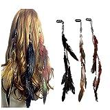TXIN 3 Stücke Retro Indian Kopfstück Bohemian Stilvoll Haarband Feder Stirnband Dekorationen Für Party