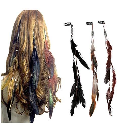 TXIN 3 Stücke Retro Indian Kopfstück Bohemian Stilvoll Haarband Feder Stirnband Dekorationen Für Party - Hut Indian Für Mädchen