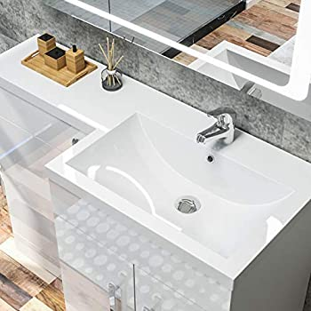 ELEGANT 1100 Bathroom Vanity Units with Basin L Shape Right Hand High Gloss White Vanity Sink Units + Ceramic Basin + Concealed Cisterm, Ensuit Furniture Under Sink Cabinet