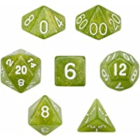 7 Die Polyhedral Dice Set - Serpent (Green Glitter) with Velvet Pouch By Wiz Dice