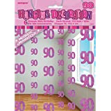 Unique Party Pink 90th Birthday/Anniversary Hanging String Decorations (One Size) (Pink)