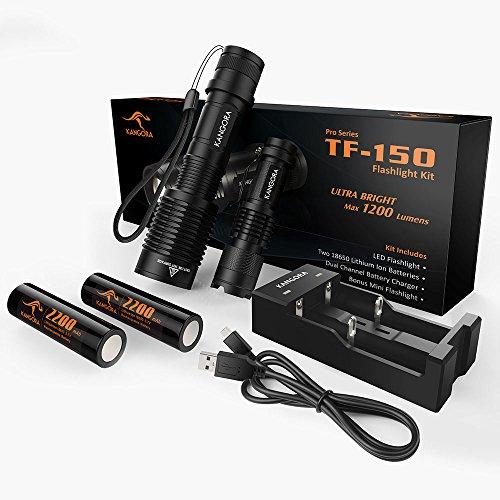 KANGORA LED Taschenlampen-Set TF-150 mit 18650 Akku + Ladegerät + Geschenk-Mini-Taschenlampe Superhell & Wasserdicht für Camping Wandern und Outdoor incl. Geschenkbox