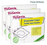 #8: HyGenie 30 Sheets Germ Free Disposable Paper Seat Covers for Toilet/Potty/Commode/Pot/WC (3 Travel Packs of 10 each)