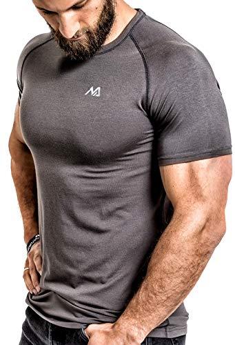 Herren Fitness T-Shirt modal - Männer Kurzarm Shirt für Gym & Training - Passform Slim-Fit, lang mit Rundhals, Grau, M (Herren Fitness-t-shirt)