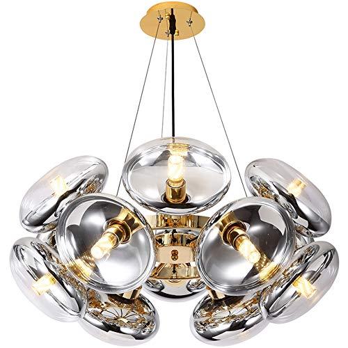 Pearl of the palm Überzug Decke Pendelleuchten Montage Kronleuchter Glaskugel Lampenschirm E27 * 12 Lichter Hängen Leuchte für Wohnzimmer Esszimmer Schlafzimmer -