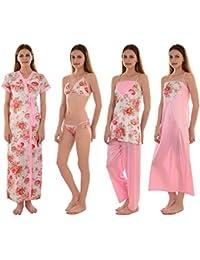 Senslife Women s Satin Solid Floral Print Nightwear Set of 6pc 2d6f268a4