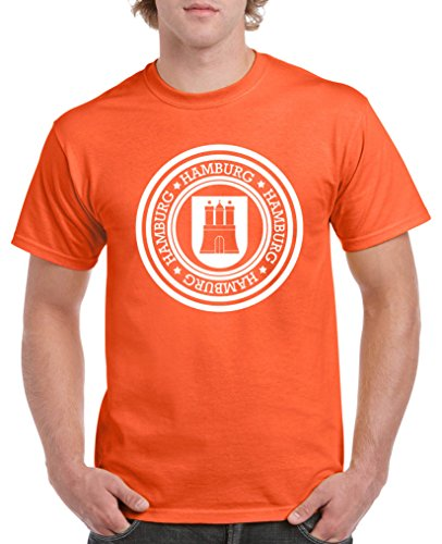 Comedy Shirts - Stadtwappen Hamburg - Herren T-Shirt - Orange/Weiss Gr. M