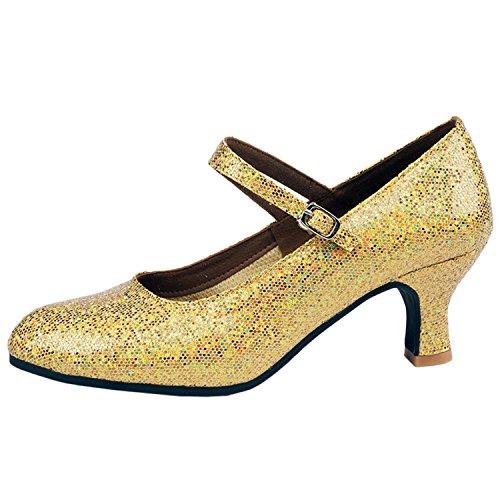 Oasap Women's Ankle Strap Sequins Latin Dance Shoes Golden