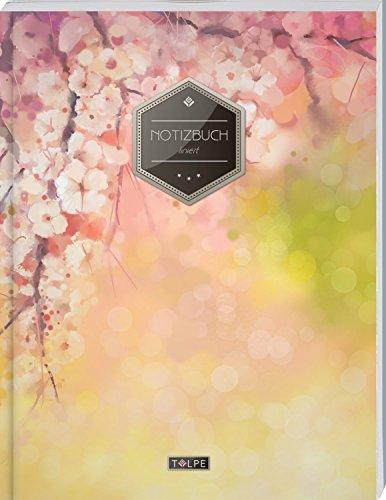 """TULPE Liniertes Notizbuch A4 """"C089 Frühlingsblumen"""" (140+ Seiten, Vintage Softcover, Doppelrand, Seitenzahlen, Register - Dickes Notizheft, Deutschheft, Schreibheft, Schulheft, Tagebuch, Lineatur 27)"""