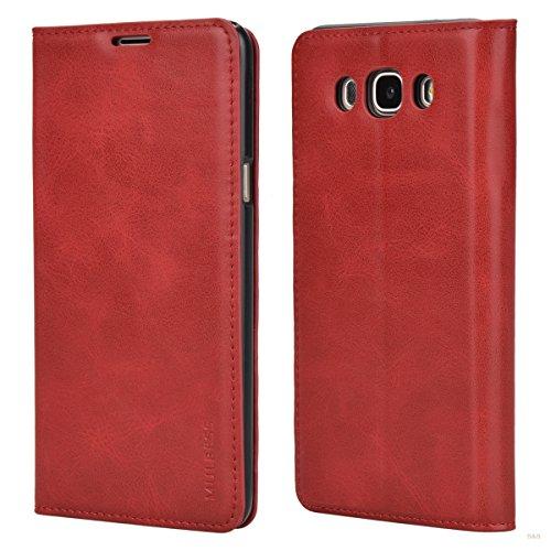 Mulbess (Slim Style) Premium Handy Schutzhülle Ledertasche im Kartenfach für Samsung Galaxy J7 Duos (2016) Tasche Hülle Leder Etui Schale,Rot