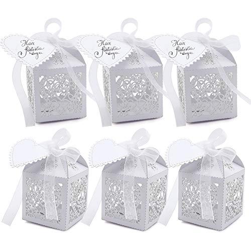 VGoodall 100 Stück Gastgeschenke Hochzeit Süßigkeiten Kasten Gastgeschenke Schachtel Hochzeit Taufe Geschenkbox Kartonage Tischdeko Hochzeit Dekoration (Weiß)