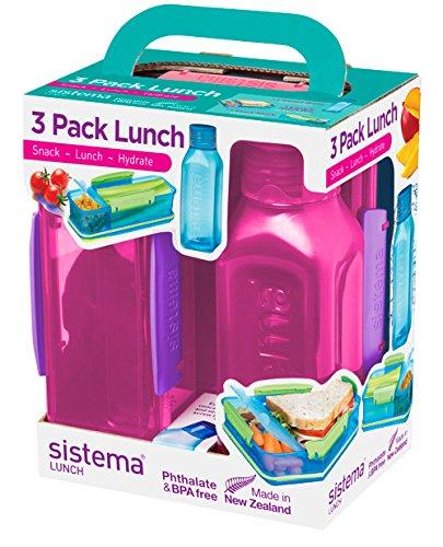 Sistema Lunch Trio Pack, farblich sortiert Bento Lunch Box Case