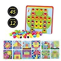 ForeWan Button Puzzle Toys for Toddlers Educational Learning Toys Set Preschool Games Color Matching DIY Art Supplies Best Toys Gifts for 2-3 Years Old Kids
