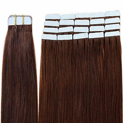 Extension capelli veri biadesivo riutilizzabili con biadesive- 40cm 100g 40 ciocce 04# marrone cioccolato - 100% remy capelli umani naturali lisci