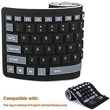 Tastiera in Silicone Tastiera Ripiegabile in Silicone Tastiera Flessibile Tastiera per Computer in Gel di Silicone Morbida e Arrotolabile (103 Tasti) per PC Portatili Notebook [Nero]