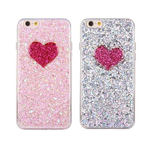 Phone case & Hülle Für iPhone 6 Plus / 6s Plus, Glitter Powder Herz Muster TPU Soft Schutzmaßnahmen zurück Fall Fall ( Color : Silver ) Pink