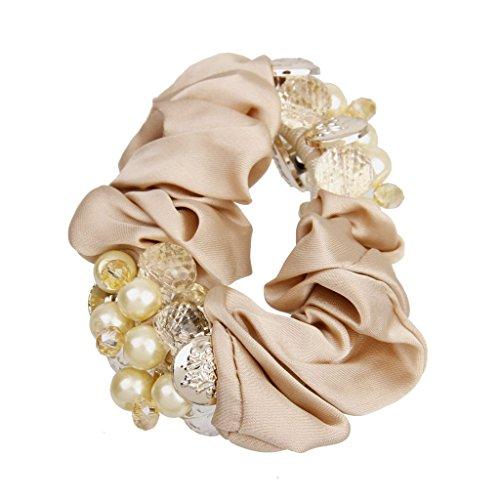 Die Mädchen Der Frauen Perlen Satin Haarband Scrunchies Pferdeschwanz Haargummi - Champagner (Kinder Pferdeschwanz-halter)