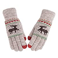 Aegilmcii Gloves Plus Velvet Thicken Student Keep Warm Cold Protection Wool Gloves Female Winter Riding Lovely Fawn Touch Screen,White
