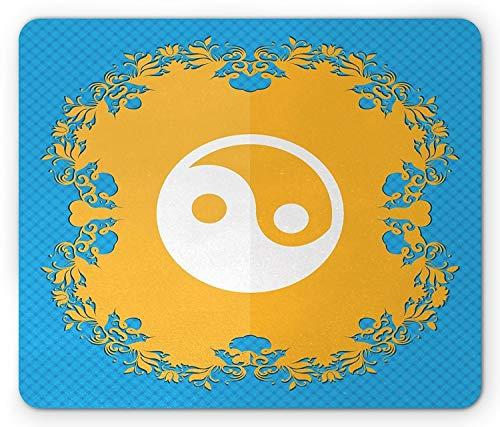 Ying Yang Mausunterlage, Blumenmuster von Yin Yang Zeichen S-förmige überschneidende Kreise Karma Kampfkünste, Standardgröße Rechteck-Rutschfeste Gummi Mousepad, orange Blau