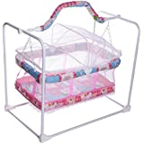 Cradle For Baby With Mosquito Net & Swing Cum Babies Crib Bassinet Jhula (Pink)