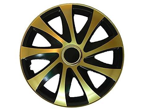 Radzierblende Drift Golden/ Schwarz 4er Radkappen Set (13