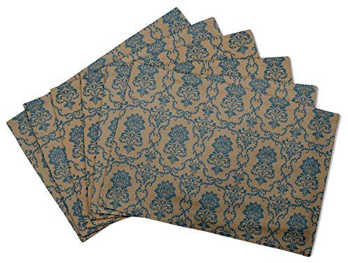 S4Sassy Marron Floral Damasse Set de Table réversible Tapis de Table réversible-12 x 18 Pouces-4 pièces