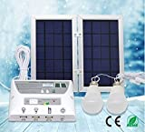 [6 W Panel plegable] yinghao sistema de funda para luz Solar, Solar Home sistema de CC Kit, 3,7 V recargable de litio – 6 W plegable Panel Solar sistema de Home Kit – incluye 3 Cell teléfono móvil – 2 LED luces