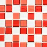 Mosaik Fliese Transluzent weiß rot Glasmosaik Crystal weiß rot für WAND BAD WC DUSCHE KÜCHE FLIESENSPIEGEL THEKENVERKLEIDUNG BADEWANNENVERKLEIDUNG Mosaikmatte Mosaikplatte
