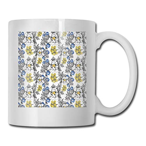 Jolly2T Funny Ceramic Novelty Coffee Mug 11oz,Romantic Peony Hydrangea and Blue Violet Blossoms In Sketch Art Style,Unisex Who Tea Mugs Coffee Cups,Suitable for Office and Home Blossom Demitasse Cup