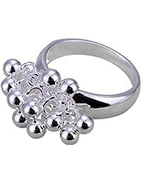 joyliveCY 2018la moda mujer elegante 925Chapado en plata anillo un Banch de uvas Reino Unido tamaño Q