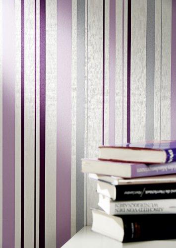A.S. Création Strukturprofiltapete Happy Hour, Streifentapete, grau, violett, weiß, 259424 - 3
