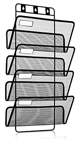 4 Shelf Wall Mounted Hanging Document Organiser, Includes Hardware + Labels, Black