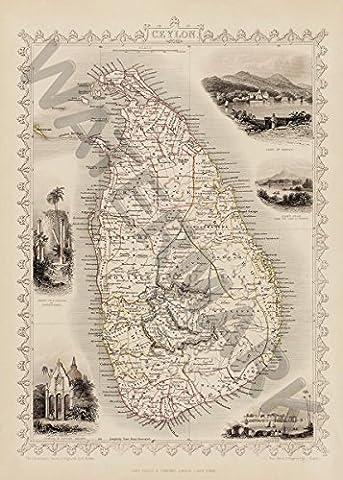 CEYLON SRI LANKA MAP GIANT WALL POSTER ART PRINT LLF0526