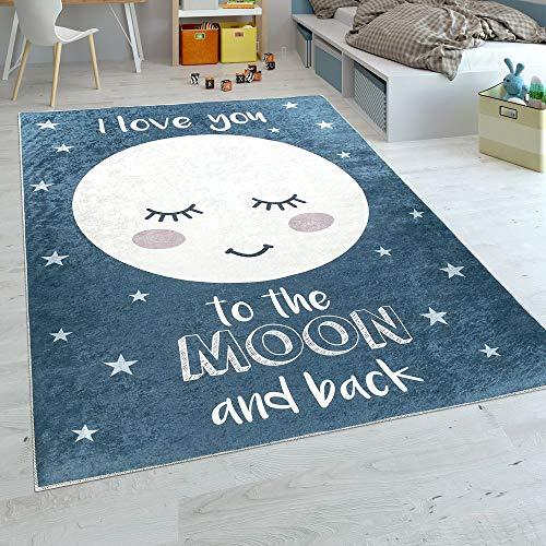Paco Home Alfombra Habitación Infantil Niña Lavable Estrellas Luna Adorable Frase Azul,...