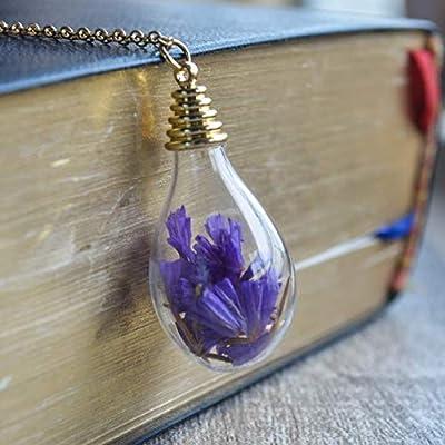 Violet Ne m'oublie pas Myosotis Réelles Fleurs Verre Goutte d'eau Plaqué or 18k Longue Colliers avec pendentifs
