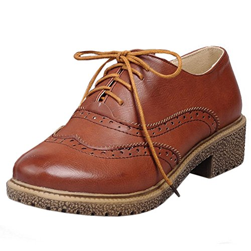 Zanpa Donna Moda Oxford Scarpe Brown