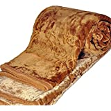 SS Sales Rich Look Soft Floral Embossed Double Blanket - Coffee Brown