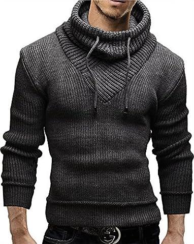 Merish Strickpullover Pullover Schalkragen Slim Fit Herren 50 Anthrazit M